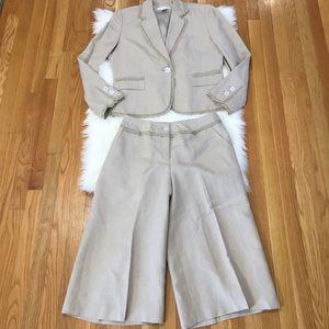 Judith Hart Collection Crop Leg Linen Blazer Set